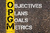 stock photo of objectives  - Concept image of Business Acronym OPGM as Objectives Plans Goals Metrics written over road marking yellow painted line - JPG