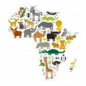 Постер, плакат: Animal Africa: Parrot Hyena Rhinoceros Zebra Hippopotamus Crocodile Turtle Elephant Mamba Snake Came