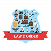 picture of law order  - Law and order concept with justice flat icons in police badge shape vector illustration - JPG