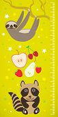 stock photo of measuring height  - Raccoon sloth and apple pear strawberry cherry on green background Children height meter wall sticker - JPG