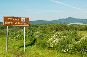 stock photo of tokay wine  - Touristic sign of famous Tokaj wine region - JPG