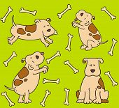 Set of illustration of cartoon dogs for a design
