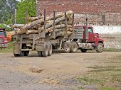 foto of 18 wheeler  - Logging truck in dirt parking lot - JPG
