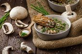 foto of whole-grain  - Mushroom soup with chive and herbs bio healthy whole - JPG