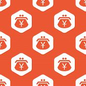 pic of yen  - Image of purse with yen symbol in white hexagon - JPG
