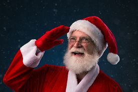 picture of forehead  - Santa Claus looking up with hand on forehead - JPG