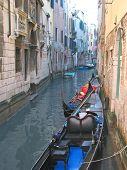 Gondola On A Small Water Canal, Venice, Italia