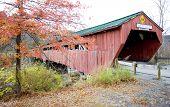 red covered wooden bridge (1836) in Taftsville, Vermont, USA