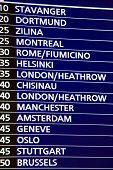departure information board, Prague Airport, Ruzyne, Czech Republic