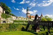 Castle of Nove Mesto nad Metuji with covered wooden bridge by Dusan Jurkovic, Czech Republic