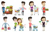 Young woman standing near trolley with grocery products. Woman shopping in grocery store. Worker of  poster