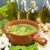 soup (bouillon) with spinach