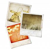 Three Vintage instant photo picture with christmas themes