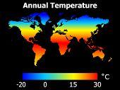 Temperatura anual en ilustración de globo