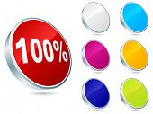 (raster image of vector) one-hundred percent discount icon