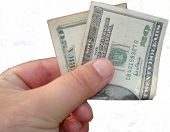stock photo of twenty dollar bill  - $20 cash money in hand US currency - JPG
