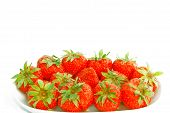 Dish Of Fresh Strawberries With Stalks