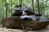 American Tank destroyed by Viet Congs in Cu Chi