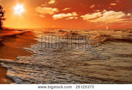 Постер, плакат: Закат на пляже моря, холст на подрамнике