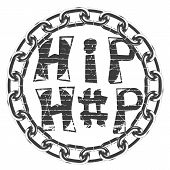Black And White Symbol In Rap Style. The Inscription Hip Hop From Old Bricks. Round Frame Of Chain poster