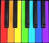 picture of rainbow piano  - keyboard in rainbow - JPG