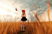 Birds Song,3D Illustration Of A Happy Schoolgirl Walking Alone In Grass Field Surrounded By A Birds poster
