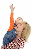 image of hands up  - happy family mother and baby show hand up over white background - JPG