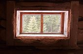 A Window In The Barn. The Window In The Hut. Wooden Window. poster