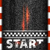 Finish Line Racing Background Top View. Art Design. Start Or Finish On Kart Race. Grunge Textured On poster