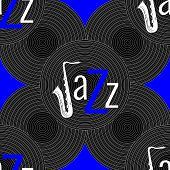 Jazz Concept. Vinyl Record And The Word Jazz. Letter J - Saxophone. Seamless Pattern. Blue, Black An poster