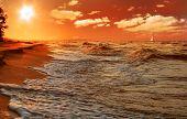 Постер, плакат: Закат на пляже моря