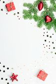 Christmas Tree With Red Decorations And Giftbox Border, Copy Space poster