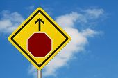 Stop Sign Ahead Warning Sign, Icon Of A Stop Sign With And Arrow On A Yellow Highway Sign With Sky B poster