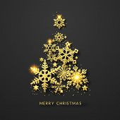 Christmas Tree Background With Shining Gold Snowflakes, Stars And Balls. Merry Christmas Card Illust poster
