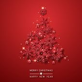 Christmas Tree Background With Shining Red Snowflakes, Stars And Balls. Merry Christmas Card Illustr poster