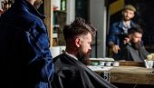 Barbershop Concept. Man With Beard Covered With Black Cape Sits In Hairdressers Chair, Mirror Backgr poster