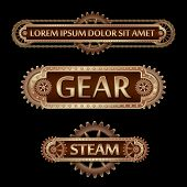 Mechanical Banner Decorated With Brass Gears And Rivets On A Black Steampunk Background. poster