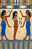 Handmade tile depicting the Egyptian goddess Nephthys and the body of King Tut on a wall in Park Cit