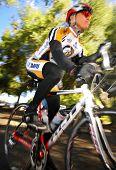 DAVIS, CA - February 7, 2009: University of California - Davis cycling team member Zhicheng Zheng racing
