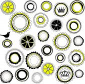 Decorative Circle Background with Crowns