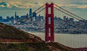 San Francisco Skyline Seen Through The North Tower Of The Golden Gate Bridge poster
