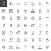 Coffee Shop Outline Icons Set. Linear Style Symbols Collection, Line Signs Pack. Vector Graphics. Se poster