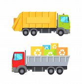 Trucks Transporting Waste Set Of Lorries Loaded Container Having Recycling Sign, Transport Collectio poster