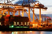 The motion and activity of a container terminal at dusk, with all facets of the harbor: the ships, t