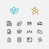 Petrol Icons Set. Plant And Petrol Icons With Oil Market, Oil Barrel And Engine Oil. Set Of Light Fo poster