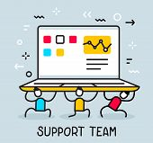 Vector Business Illustration Of People Holding A Big Heavy Laptop. Technical Customer Support Team C poster