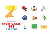 Sport Games Icon Set. Champions Cup Table Tennis Swimming Sport Whistle Scoreboard Shuttlecock Golf  poster