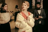 Purchase, Business, Moneybags. People Among Fur Coat, Envy, Betrayal, Luxury. Fashion, Beauty, Winte poster