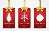 Christmas Tags On White Background With Golden Ribbon. New Year Holidays Hang Tag Labels. Cut Out Pa poster