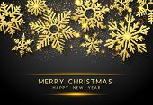Christmas Background With Shining Golden Snowflakes And Snow. Merry Christmas Card Illustration On B poster
